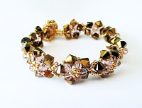 Crystal Flower Bracelet Kit with SWAROVSKI - Dorado and Vintage Rose